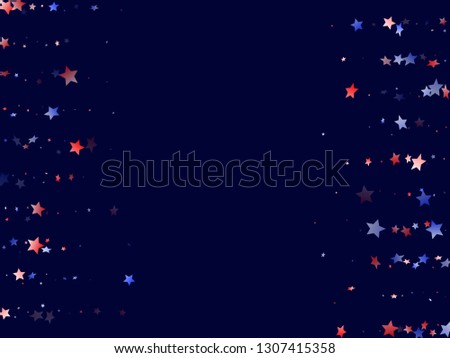 American Presidents Day stars background. Confetti in USA flag colors for Independence Day. Solemn red blue white stars on dark American patriotic vector. Fourth of July stardust scatter.
