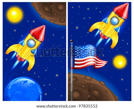 American retro rocket ship space vehicle blasting off into sky, vector illustration.