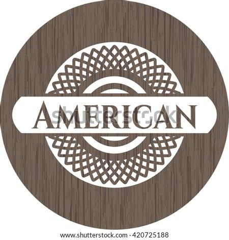 American retro wooden emblem
