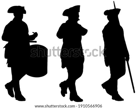 American Revolutionary War soldiers marching silhouette  Stock photo ©