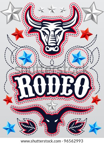 American Rodeo poster - card template - Vector set - elements