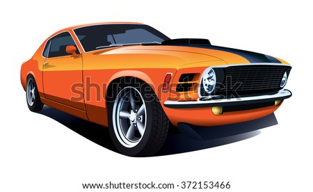 American 70s customized muscle car. Vector EPS10 isolated, separated layers, quick repaint