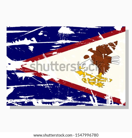 American Samoa flag with scratches, vector flag of American Samoa.