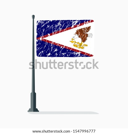American Samoa flag with scratches, vector flag of American Samoa on flagpole with shadow.