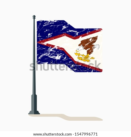 American Samoa flag with scratches, vector flag of American Samoa waving on flagpole with shadow.