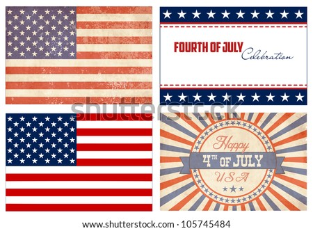 American Set. 2 types of flags and 2 Independence day cards