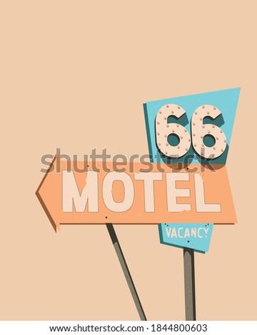 American Signboards Style Retro Vintage  Motel Advertising Billboards  Сток-фото ©