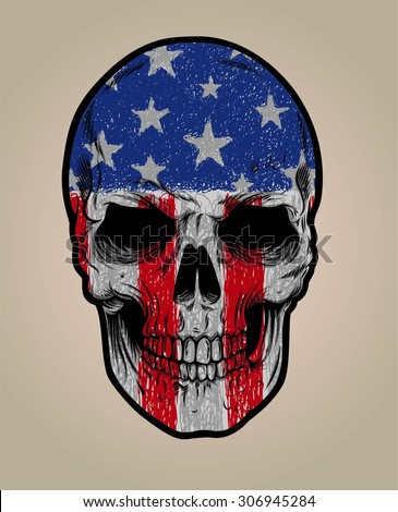 american skull face and grunge
