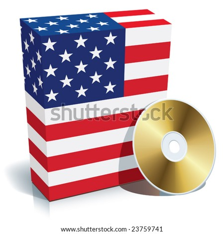 American software box with national flag colors and CD. - stock vector