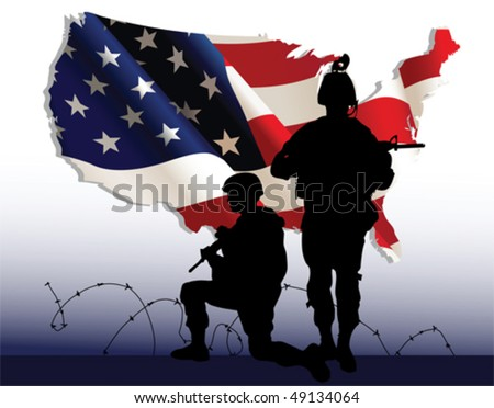 American soldiers. All elements and textures are individual objects. Vector illustration scale to any size.