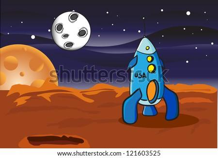 American space rocket on Mars