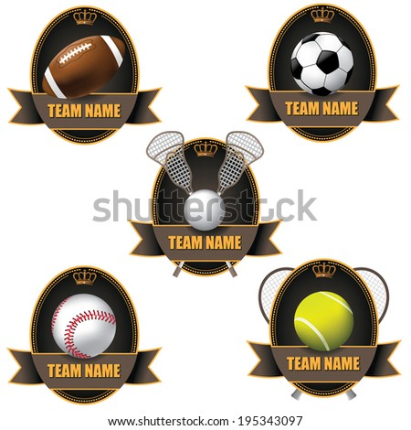 American sports badge icon symbol set. EPS 10 vector.
