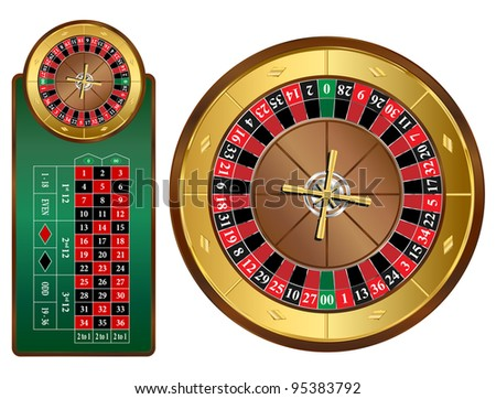 American style roulette wheel and table vector illustration