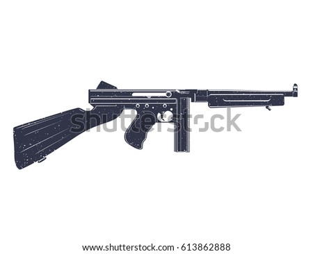 american submachine gun over