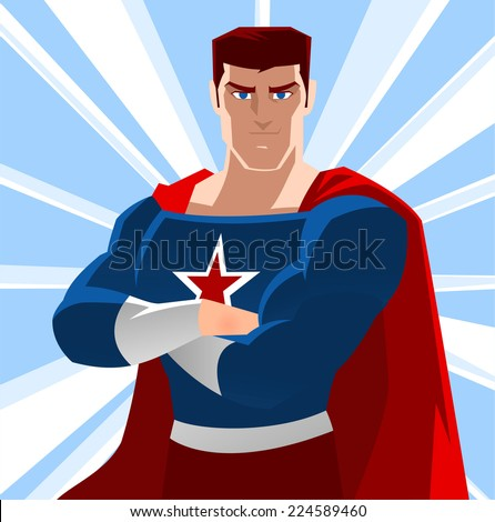 american super hero  with star