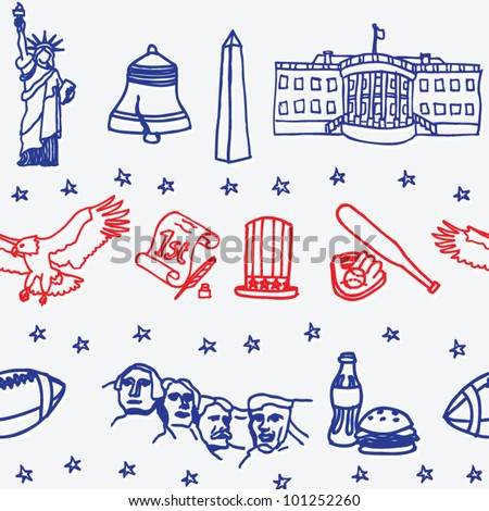 stock vector : American symbols icons seamless pattern