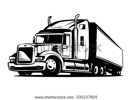 American Truck Trailer black and white illustration