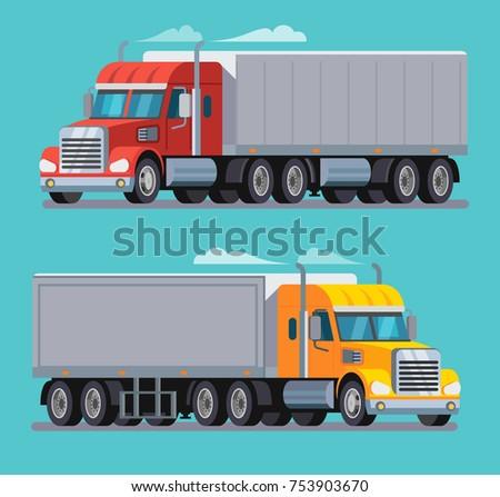 American Truck Trailer cargo transport. Vector flat