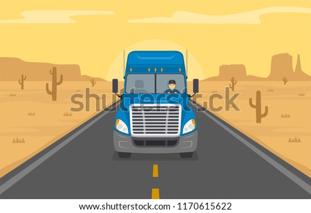 American truck with driver on the road of desert. Front view. Flat vector illustration.