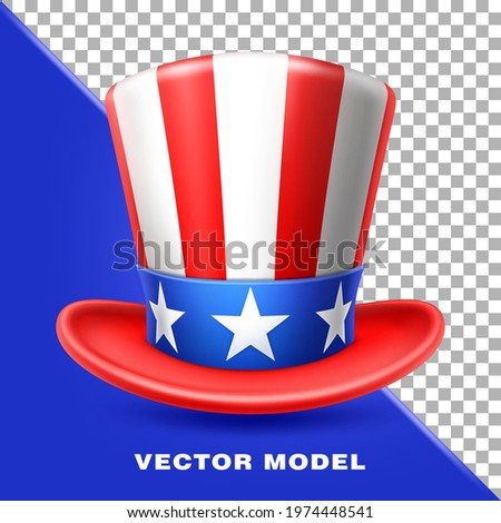 American Uncle Sam hat, America Flag, USA. Independence Day, 4th of July.  Zdjęcia stock ©