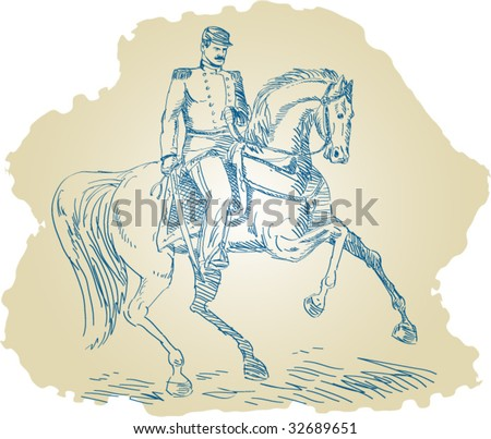 American Union officer during the civil war riding a horse