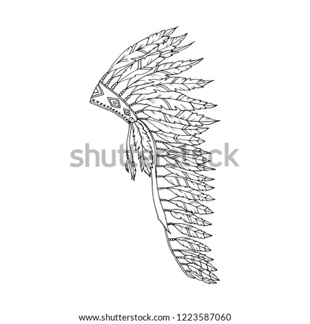 American Warbonnet Outline Drawing. Eagle Feather hat coloring page fashion accessory. Native Indian Headdress. Thanksgiving and Halloween Vector Costume Illustration.