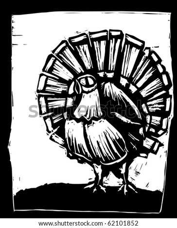 American wild turkey in woodcut style.