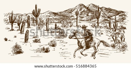 american wild west desert with