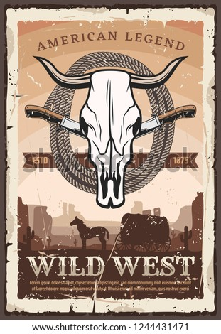 American wild west retro poster with bull skull, knives and lasso rope. Vintage carriage with horse in desert among cactus silhouettes, retro vector design. History and legends of America
