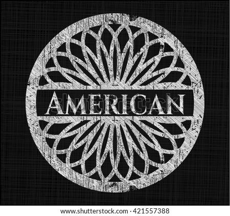 American written with chalkboard texture