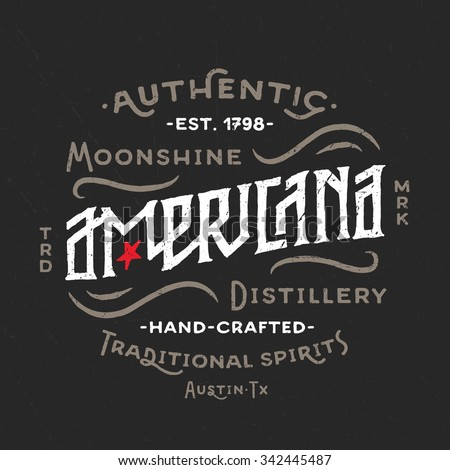 Americana Moonshine Distillery retro hand lettered design. Vintage Americana Style. Hand Drawn Custom Type. Old School Flavor. Great as logo, for t shirt fashion prints tee graphics wall art decor etc