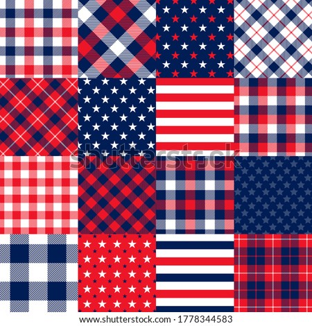 Americana Stars and Stripes Cheater Quilt Vector Seamless Pattern. Imitation of Patchwork Squares of Patriotic Red, White and Blue Stars and Stripes, Gingham Plaid and Tartan.
