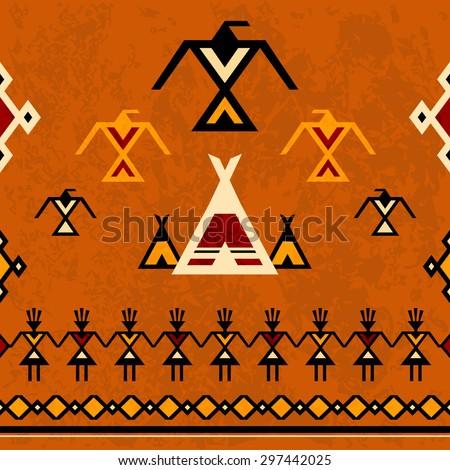 Amerindian seamless background, tracery, EPS10 vector illustration