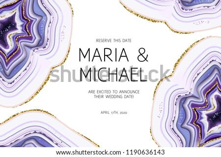 Amethyst crystal geode purple horizontal vector frame.Stylish ultraviolet texture card.Gold border.Sparkling gems.Natural stone.Trendy wedding invitation.All elements are isolated and editable.