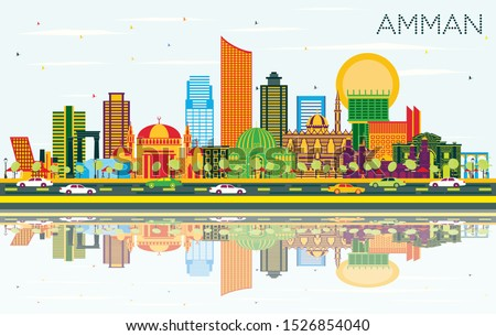 Amman Jordan City Skyline with Color Buildings, Blue Sky and Reflections. Vector Illustration. Business Travel and Tourism Concept with Modern Architecture. Amman Cityscape with Landmarks.