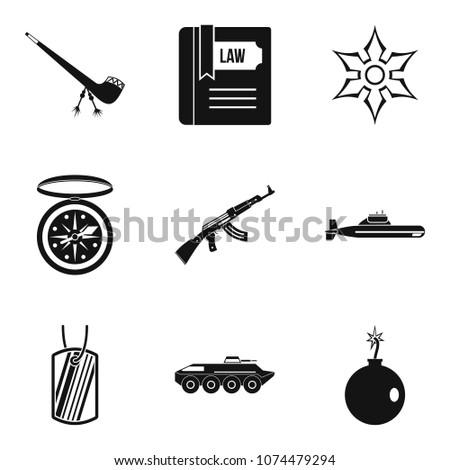 ammunition icons set simple