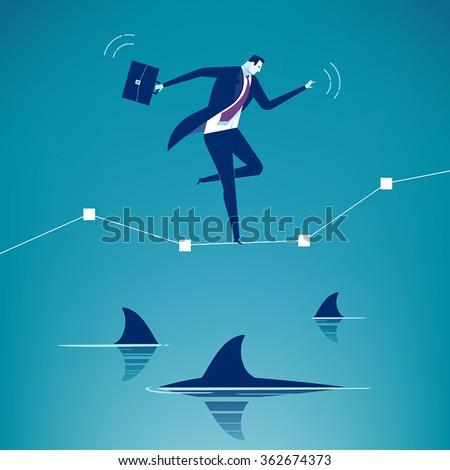 Among Sharks. Business concept illustration.