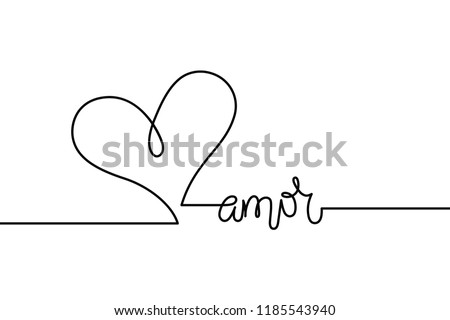 Amor text with continuous line drawing of heart isolated on white background, love in Italian, love lettering for greeting card, poster, invitation, wedding, handwritten calligraphy