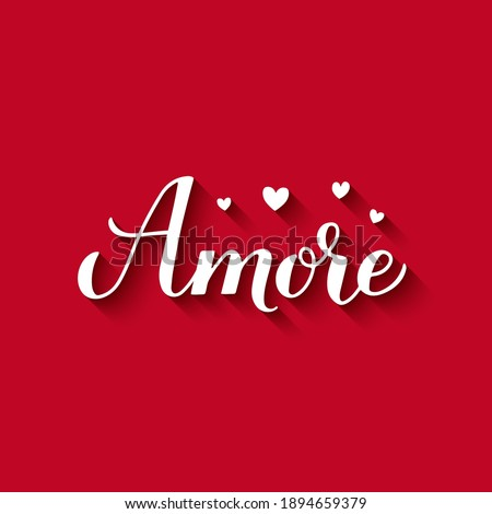 Amore calligraphy, hand lettering on red background. Love in Italian. Valentines day greeting card. Vector template for typography poster banner, postcard, flyer, etc. Foto d'archivio ©