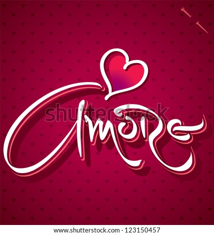 AMORE hand lettering - handmade calligraphy, vector (eps8)