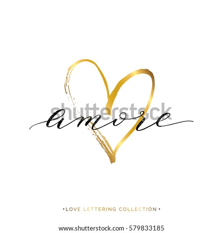 Shutterstock Amore text with gold heart isolated on white background, love in Italian, hand painted letter, golden vector love lettering for greeting card, poster, invitation, wedding, handwritten calligraphy