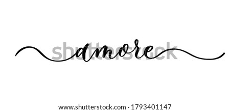 Amore - vector calligraphic inscription with smooth lines. Foto d'archivio ©