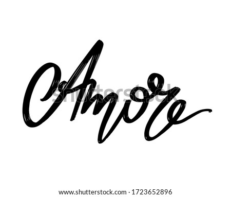 Amore. Vector hand drawn lettering  isolated. Template for card, poster, banner, print for t-shirt, pin, badge, patch. Foto d'archivio ©