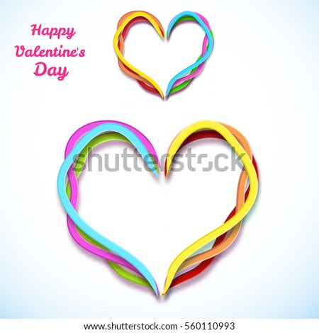 Amorous beautiful template with colorful curved ribbon hearts on white light background isolated vector illustration
