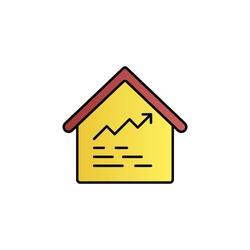 Amount, house, analytics color gradient vector icon