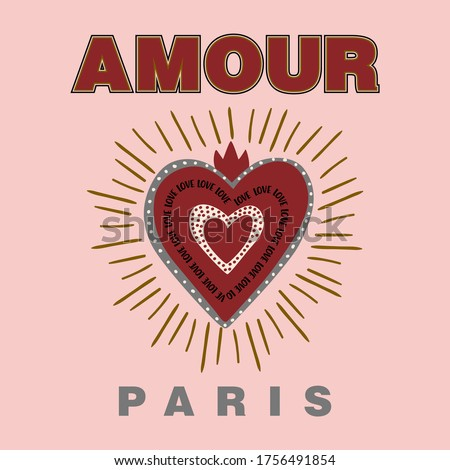 Amour french is love heart abstract,Graphic design print t-shirts fashion,vector,poster Foto stock ©