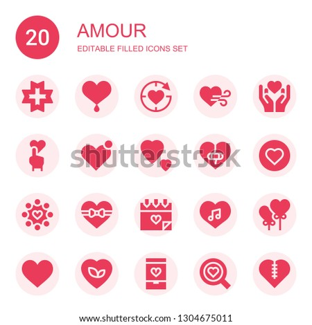 amour icon set. Collection of 20 filled amour icons included Love, Heart, Heart balloon