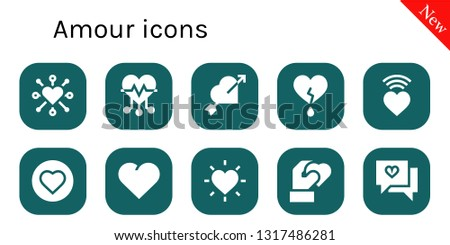 amour icon set. 10 filled amour icons.  Collection Of - Heart, Love