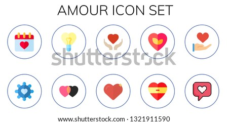 amour icon set. 10 flat amour icons.  Simple modern icons about  - valentines day, heart, love