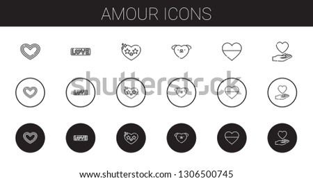 amour icons set. Collection of amour with heart, love. Editable and scalable amour icons.